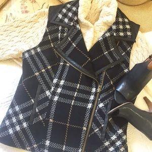 CAbi Plaid Wool Blend Vest
